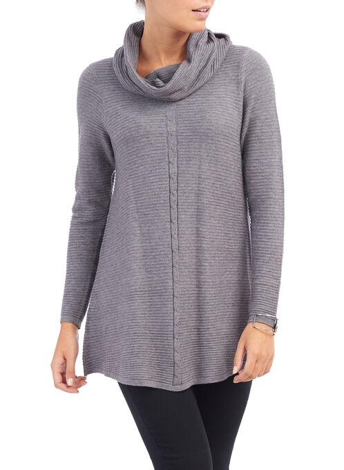 Long Sleeve Ribbed Yarn Top , Grey, hi-res