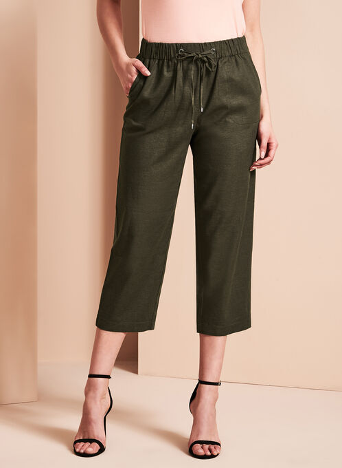 Straight Leg Linen Capris, Green, hi-res