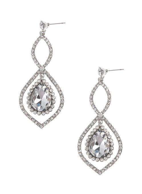Crystal Teardrop Earrings, Silver, hi-res