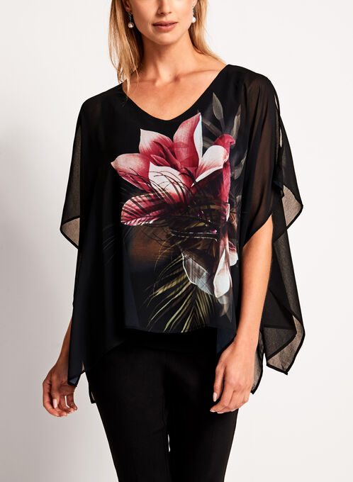 Large Floral Print Poncho Blouse, Black, hi-res