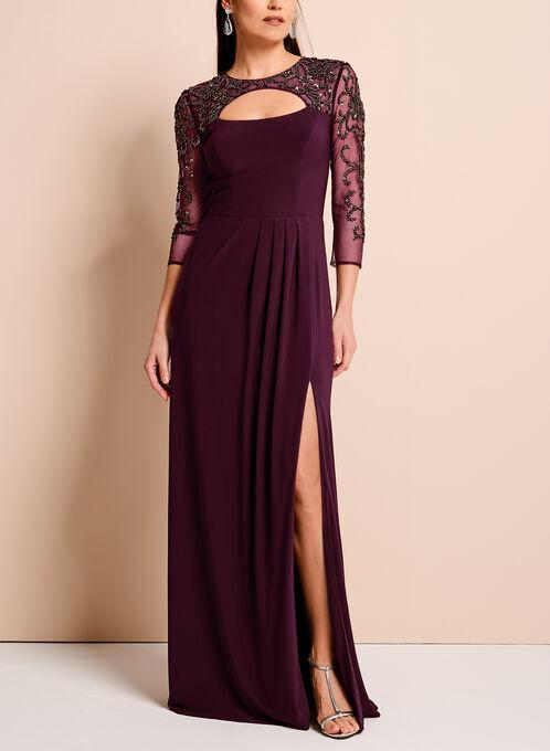 3/4 Sleeve Beaded Mesh Yoke Gown, Purple, hi-res