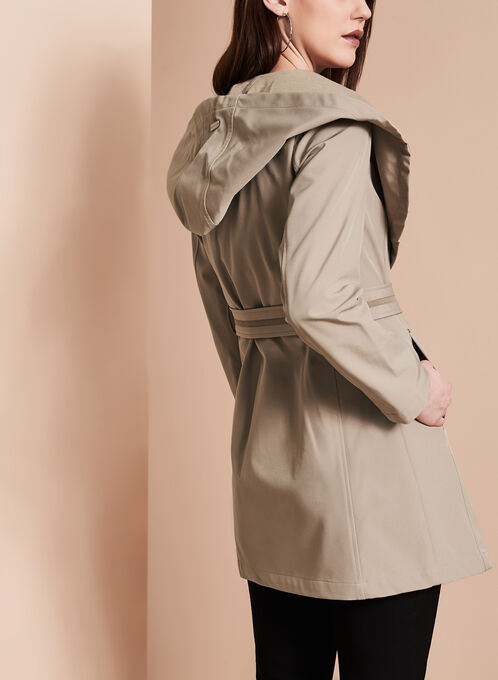 Novelti Soft Shell Wrap Coat, Brown, hi-res