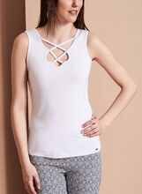 Sleeveless Lace Up Camisole, White, hi-res