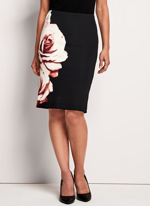 Floral Print Pencil Skirt, Black, hi-res