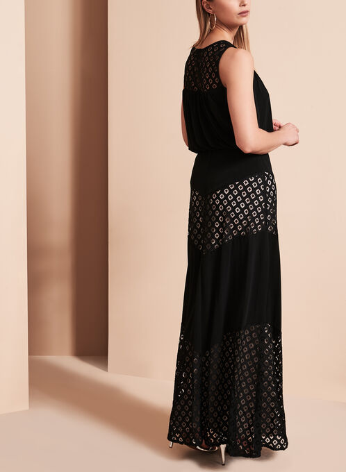 Maggy London Contrast Lace Maxi Dress, Black, hi-res