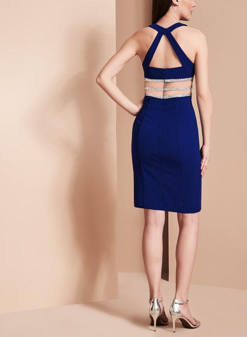 Halter Neck Illusion Waist Dress, Blue, hi-res
