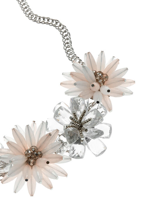Beaded Floral Motif Necklace , Grey, hi-res
