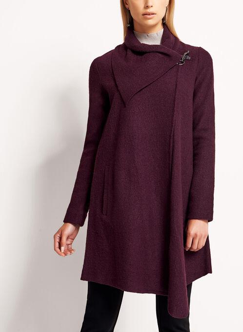 Manteau drapé asymétrique en laine, Rouge, hi-res