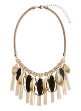 Geometric Leaf Bib Chain Necklace, , hi-res