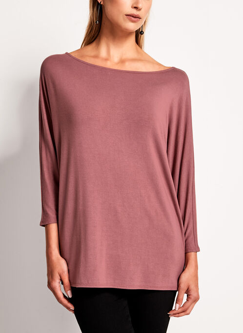 3/4 Sleeve Boat Neck Sweater, Pink, hi-res