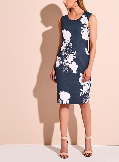 Abstract Print Twill Sheath Dress, Blue, hi-res