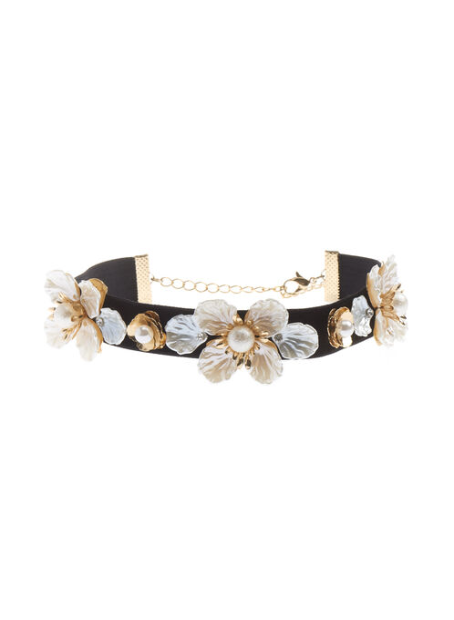 Velvet Choker with Floral Embellishments, Off White, hi-res