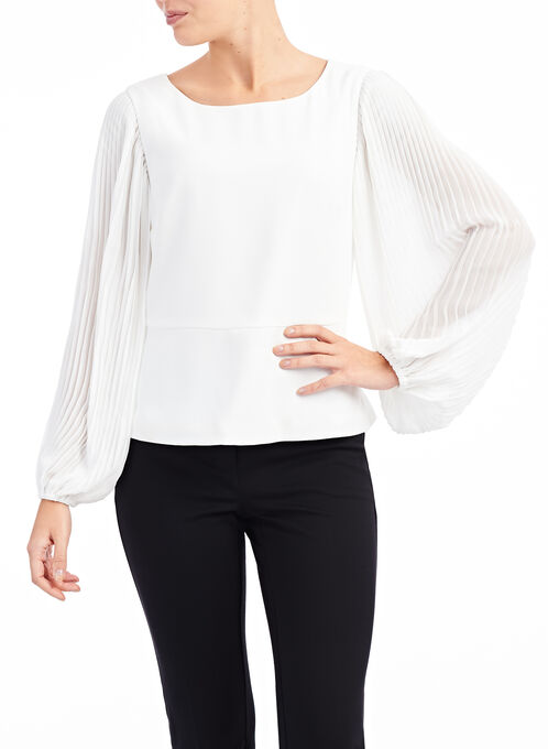 Crêpe & Pleated Chiffon Blouse, Off White, hi-res