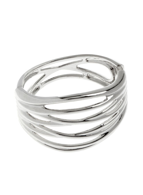 Wide Crisscross Bangle, Silver, hi-res