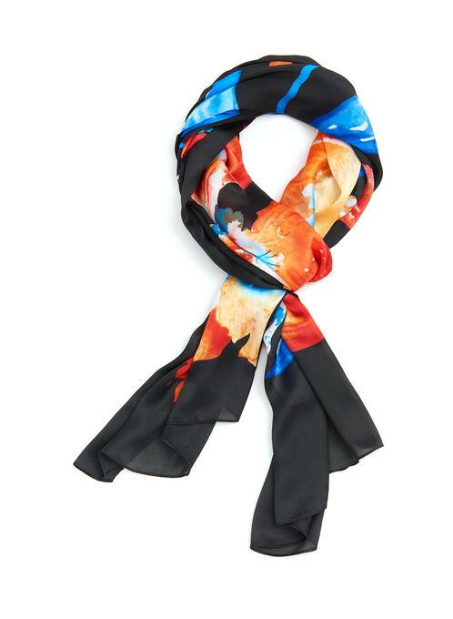 Foulard rectangulaire à fleurs de lys, Noir, hi-res