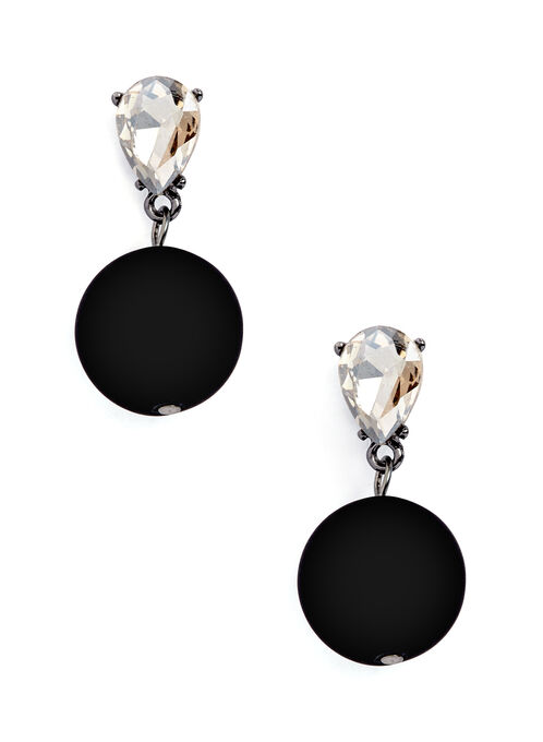 Teardrop Crystal & Ball Dangle Earrings, Black, hi-res