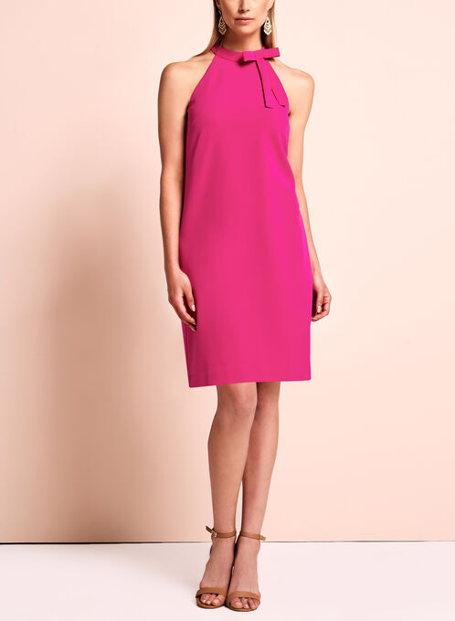 Maggy London Halter Neck Bow Dress, Pink, hi-res