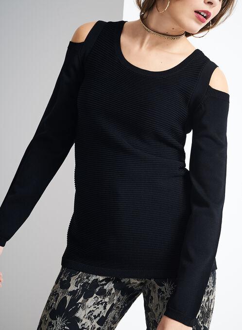 Ribbed Cold Shoulder Sweater, Black, hi-res