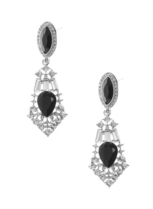 Crystal Chandelier Earrings, Black, hi-res