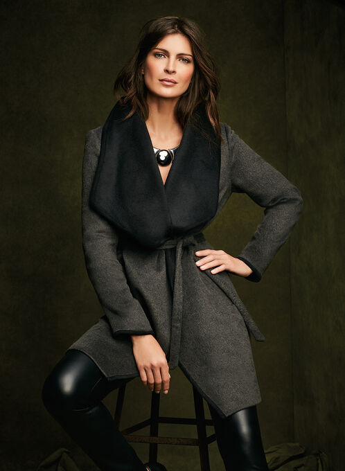 Double Face Wrap Coat, Grey, hi-res