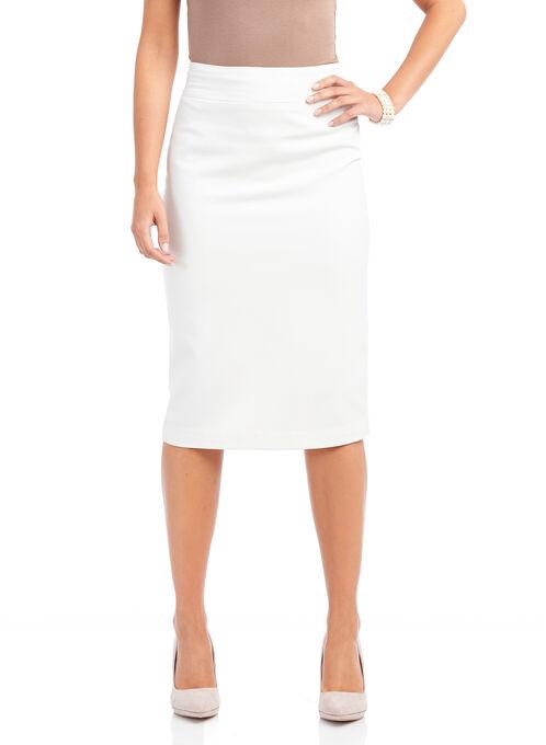 Zipper Detail Pencil Skirt, Off White, hi-res