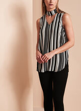 Stripe Print Choker Blouse, Black, hi-res