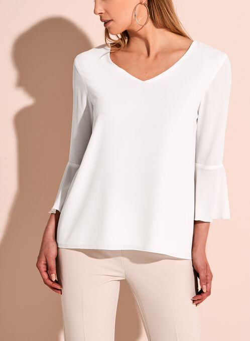 Ruffle Sleeve V-Neck Blouse, Off White, hi-res