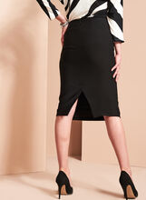 Stitch Detail Pencil Skirt, Black, hi-res