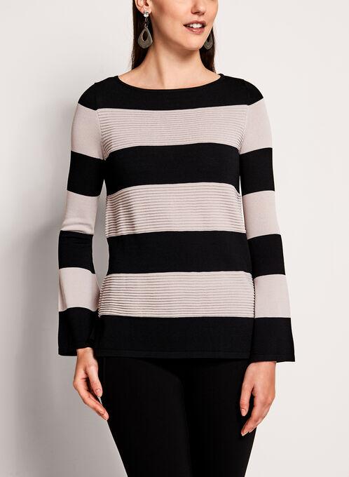 Bell Sleeve Stripe Print Sweater, White, hi-res