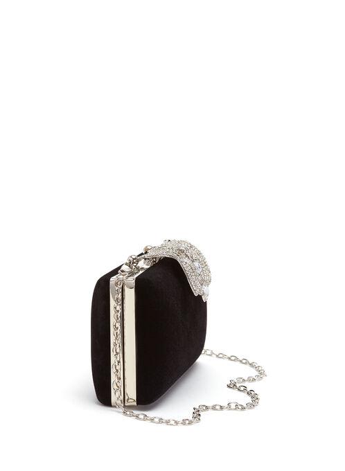 Crystal Closure Velvet Clutch, Black, hi-res