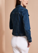 Cropped Knit Jean Jacket, Blue, hi-res