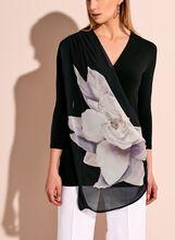 3/4 Sleeve Floral Print Drape Front Top, White, hi-res