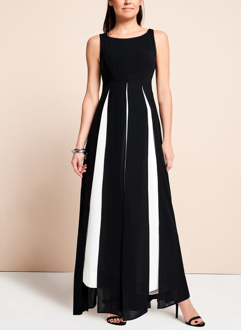 Adrianna Papell - Contrast Wide Leg Jumpsuit, Black, hi-res