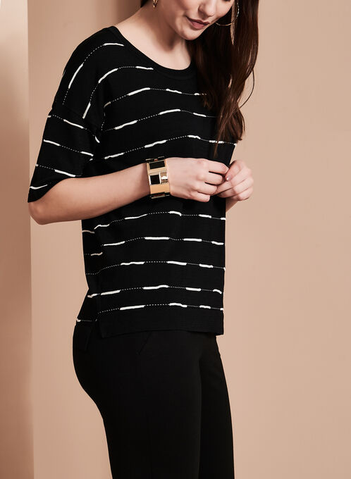 Elena Wang Stripe Print Knit Top, Black, hi-res