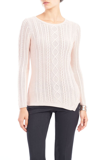 Asymmetrical Hem Knit Sweater, Pink, hi-res