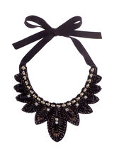 Beaded Ribbon Tie Bib Necklace, Black, hi-res