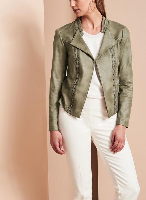 Vex Faux Suede Cascade Jacket, Green, hi-res
