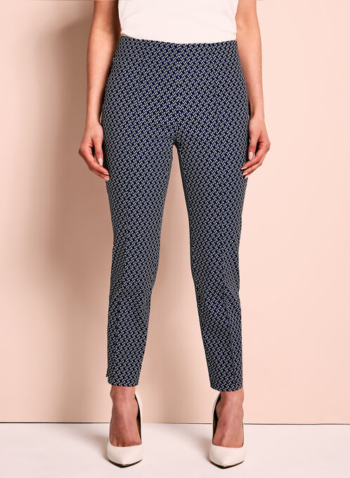 Geometric Print Capri Pants, Black, hi-res