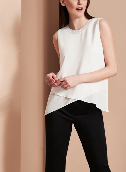 Sleeveless Double Layer Blouse, Off White, hi-res
