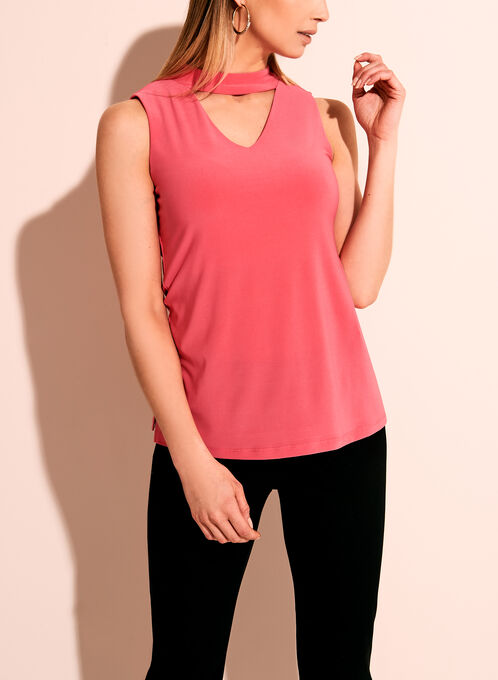 Sleeveless Choker Top, Pink, hi-res