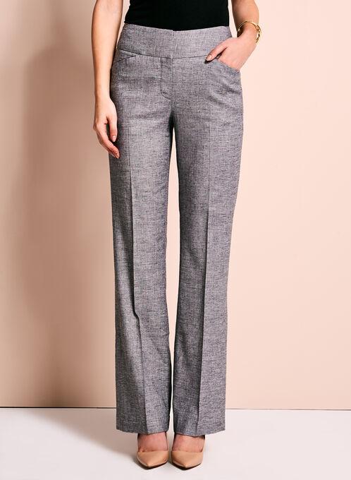 Pantalon à jambe large en lin extensible, Noir, hi-res