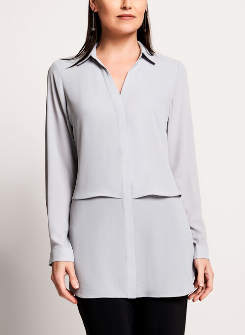 Long Sleeve Notch Collar Tunic Blouse, Off White, hi-res