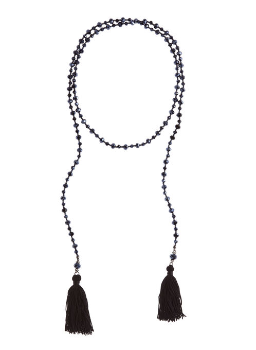 Tassled Lariat Necklace, Grey, hi-res