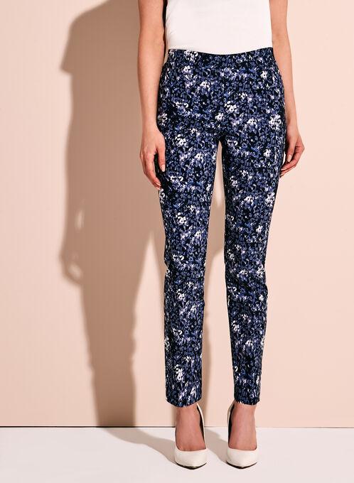 Pantalon 7/8 à effet ventre plat à motifs abstraits, Bleu, hi-res