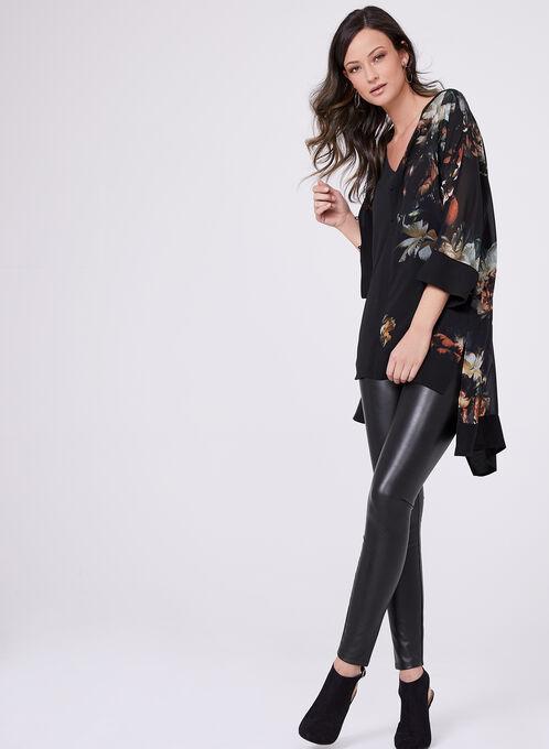 Floral Print 3/4 Sleeve High-Low Blouse, Black, hi-res