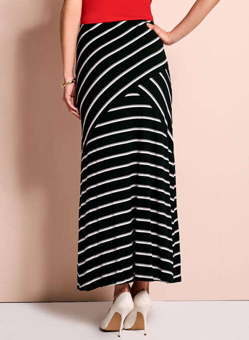Linea Domani Graphic Stripe Print Skirt, Black, hi-res