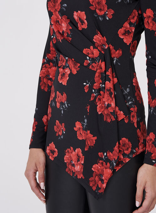 Floral Print Jersey Top, Red, hi-res