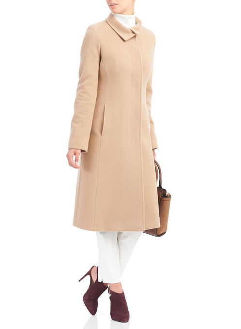 Mallia Wool Blend Coat , Brown, hi-res