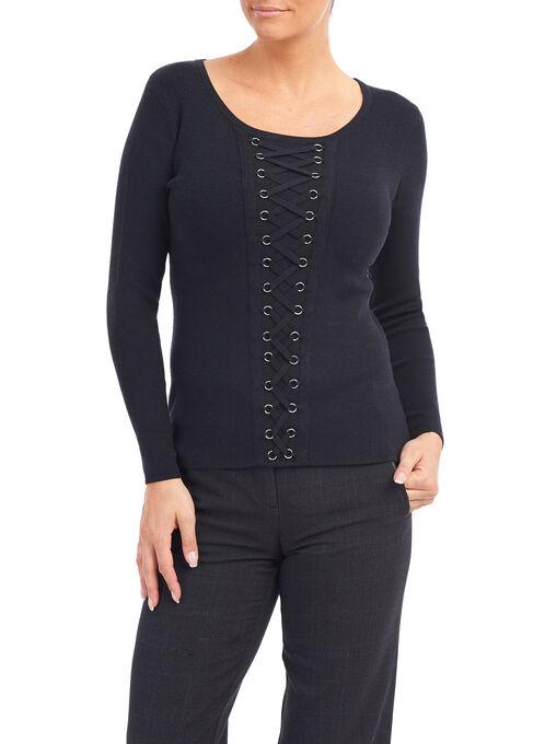 Grommet Detail Knit Top , Black, hi-res