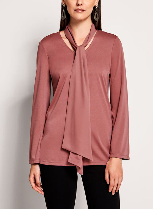 Tie Neck Bell Sleeve Top, Pink, hi-res
